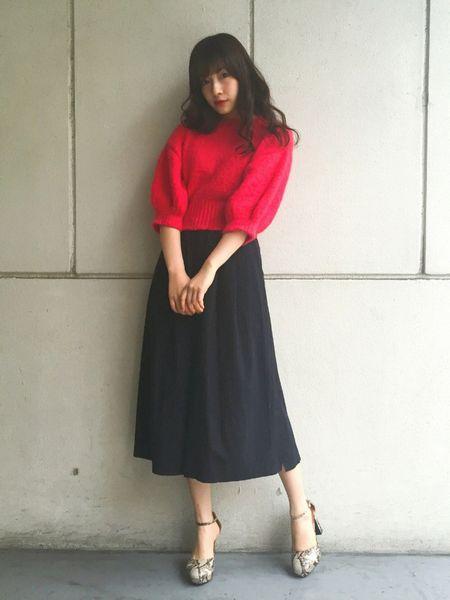 赤×ブラックロングスカート2