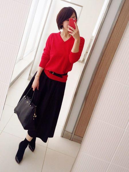 赤×ブラックロングスカート1